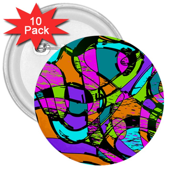 Abstract Sketch Art Squiggly Loops Multicolored 3  Buttons (10 pack)