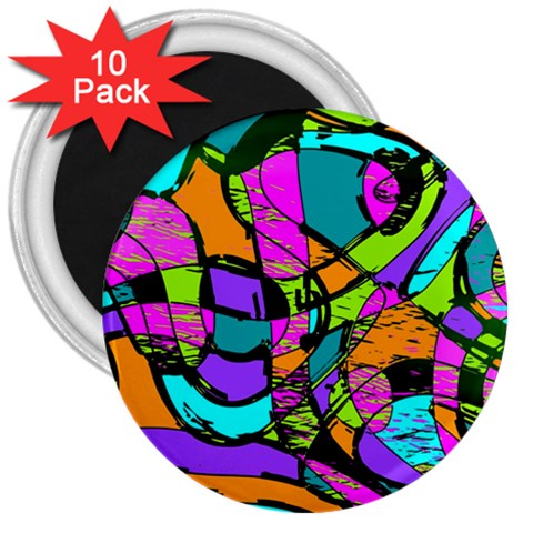 Abstract Sketch Art Squiggly Loops Multicolored 3  Magnets (10 pack)