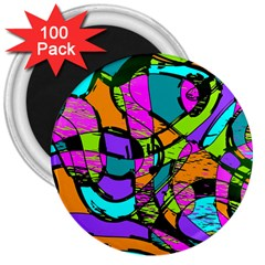 Abstract Sketch Art Squiggly Loops Multicolored 3  Magnets (100 pack)
