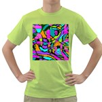 Abstract Sketch Art Squiggly Loops Multicolored Green T-Shirt Front