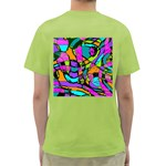 Abstract Sketch Art Squiggly Loops Multicolored Green T-Shirt Back