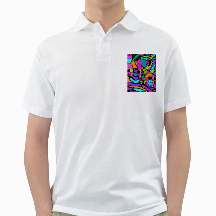 Abstract Sketch Art Squiggly Loops Multicolored Golf Shirts