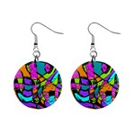 Abstract Sketch Art Squiggly Loops Multicolored Mini Button Earrings Front
