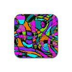 Abstract Sketch Art Squiggly Loops Multicolored Rubber Coaster (Square)  Front