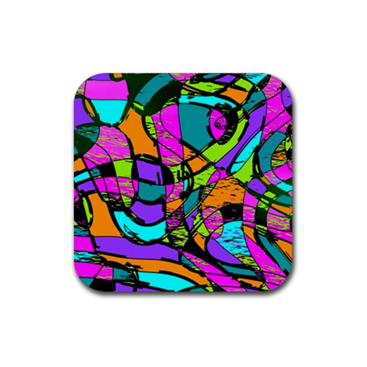 Abstract Sketch Art Squiggly Loops Multicolored Rubber Square Coaster (4 pack)