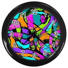 Abstract Sketch Art Squiggly Loops Multicolored Wall Clocks (black)