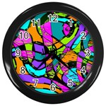 Abstract Sketch Art Squiggly Loops Multicolored Wall Clocks (Black) Front