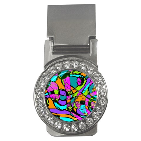 Abstract Sketch Art Squiggly Loops Multicolored Money Clips (CZ)