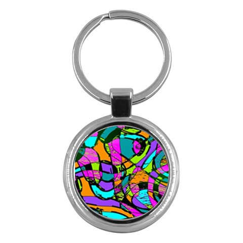 Abstract Sketch Art Squiggly Loops Multicolored Key Chains (Round)