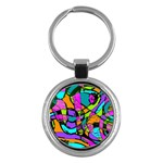 Abstract Sketch Art Squiggly Loops Multicolored Key Chains (Round)  Front