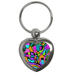 Abstract Sketch Art Squiggly Loops Multicolored Key Chains (heart)