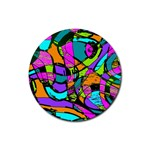 Abstract Sketch Art Squiggly Loops Multicolored Rubber Coaster (Round)  Front