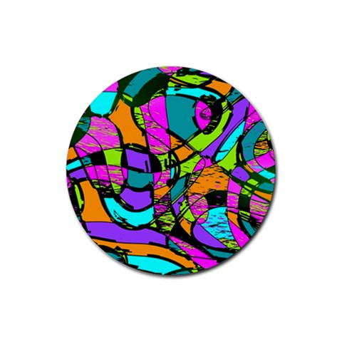 Abstract Sketch Art Squiggly Loops Multicolored Rubber Round Coaster (4 pack)