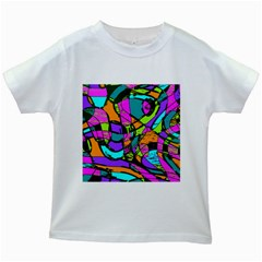 Abstract Sketch Art Squiggly Loops Multicolored Kids White T Shirts
