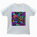 Abstract Sketch Art Squiggly Loops Multicolored Kids White T-Shirts Front