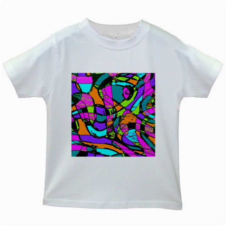Abstract Sketch Art Squiggly Loops Multicolored Kids White T-Shirts