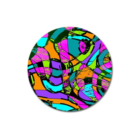 Abstract Sketch Art Squiggly Loops Multicolored Magnet 3  (Round)
