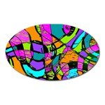 Abstract Sketch Art Squiggly Loops Multicolored Oval Magnet Front