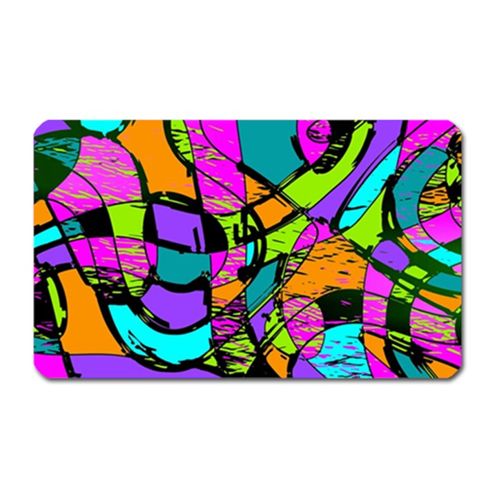 Abstract Sketch Art Squiggly Loops Multicolored Magnet (Rectangular)