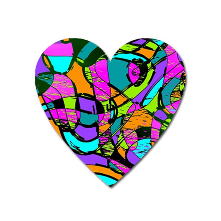 Abstract Sketch Art Squiggly Loops Multicolored Heart Magnet