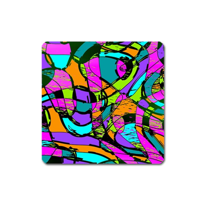 Abstract Sketch Art Squiggly Loops Multicolored Square Magnet