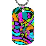 Abstract Sketch Art Squiggly Loops Multicolored Dog Tag (One Side) Front