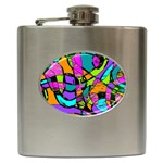 Abstract Sketch Art Squiggly Loops Multicolored Hip Flask (6 oz) Front