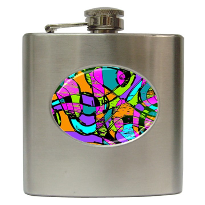 Abstract Sketch Art Squiggly Loops Multicolored Hip Flask (6 oz)