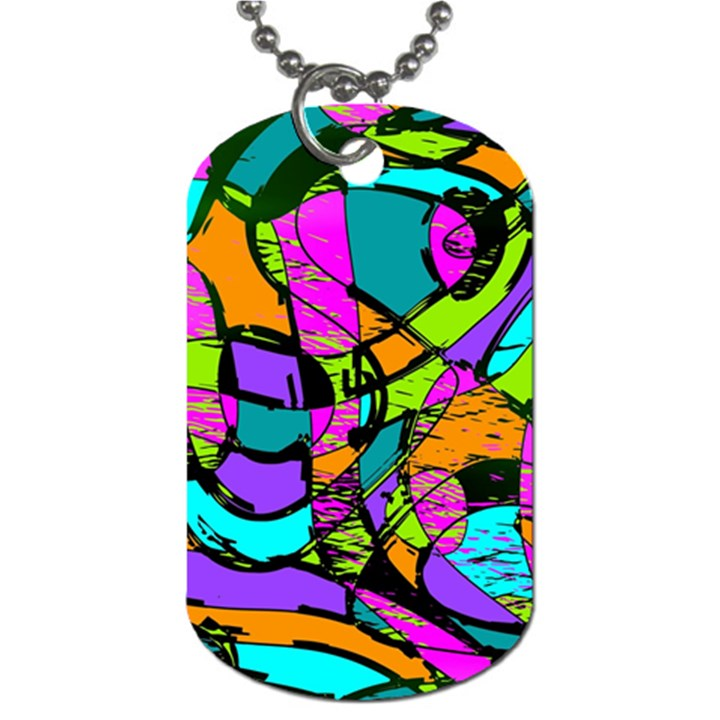 Abstract Sketch Art Squiggly Loops Multicolored Dog Tag (Two Sides)