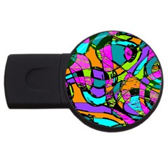 Abstract Sketch Art Squiggly Loops Multicolored USB Flash Drive Round (1 GB)