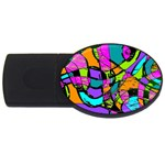Abstract Sketch Art Squiggly Loops Multicolored USB Flash Drive Oval (2 GB)  Front