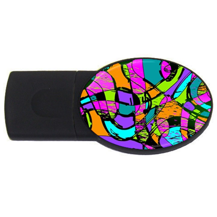 Abstract Sketch Art Squiggly Loops Multicolored USB Flash Drive Oval (2 GB)