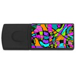 Abstract Sketch Art Squiggly Loops Multicolored USB Flash Drive Rectangular (1 GB)  Front