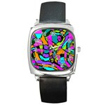 Abstract Sketch Art Squiggly Loops Multicolored Square Metal Watch Front