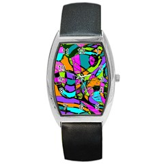 Abstract Sketch Art Squiggly Loops Multicolored Barrel Style Metal Watch