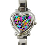 Abstract Sketch Art Squiggly Loops Multicolored Heart Italian Charm Watch Front