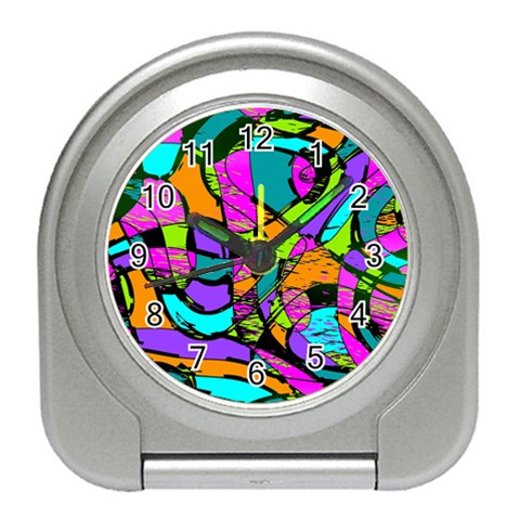 Abstract Sketch Art Squiggly Loops Multicolored Travel Alarm Clocks
