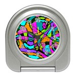 Abstract Sketch Art Squiggly Loops Multicolored Travel Alarm Clocks Front
