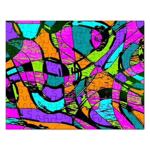 Abstract Sketch Art Squiggly Loops Multicolored Rectangular Jigsaw Puzzl