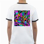 Abstract Sketch Art Squiggly Loops Multicolored Ringer T-Shirts Back