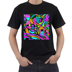 Abstract Sketch Art Squiggly Loops Multicolored Men s T Shirt (black) (two Sided)