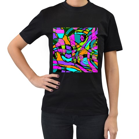 Abstract Sketch Art Squiggly Loops Multicolored Women s T-Shirt (Black) (Two Sided)