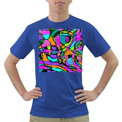 Abstract Sketch Art Squiggly Loops Multicolored Dark T Shirt