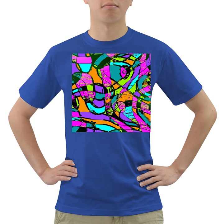 Abstract Sketch Art Squiggly Loops Multicolored Dark T-Shirt