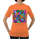 Abstract Sketch Art Squiggly Loops Multicolored Women s Dark T-Shirt Front