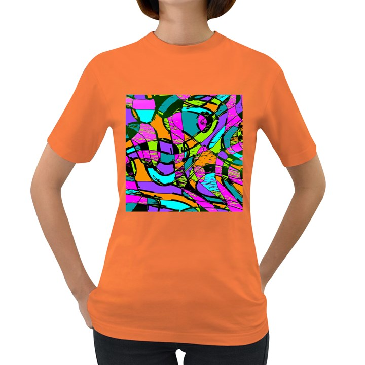 Abstract Sketch Art Squiggly Loops Multicolored Women s Dark T-Shirt