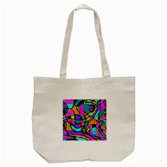 Abstract Sketch Art Squiggly Loops Multicolored Tote Bag (cream)