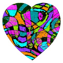 Abstract Sketch Art Squiggly Loops Multicolored Jigsaw Puzzle (heart)