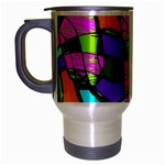 Abstract Sketch Art Squiggly Loops Multicolored Travel Mug (Silver Gray) Left