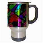 Abstract Sketch Art Squiggly Loops Multicolored Travel Mug (Silver Gray) Right